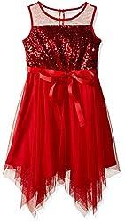 Girls Sequin Top Sleeveless Handkerchief Hemline Dress