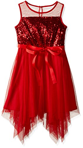 (My Michelle Girls' Big' Sleeveless Dress with Sheer Yoke and Sequin Top, Red, 7)