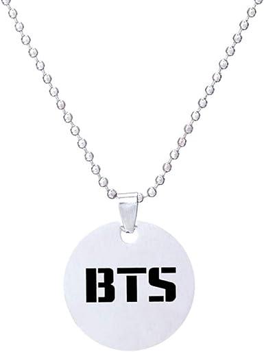 Bestomrogh Kpop BTS GOT7 Twice//MAMAMOO//EXO//Black Pink//Monsta X Collier Pendentif en Acier Inoxydable//Collier de Velours//Collier Pendentif Logo de l/équipe