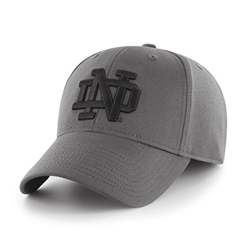 Fitted College Hat Cap - OTS NCAA Notre Dame Fighting Irish Comer Center Stretch Fit Hat, Charcoal, Medium/Large