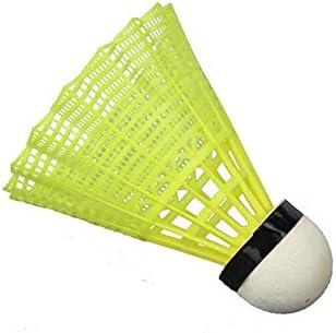 Wuzhongdian 6個パック 防風 耐風 プラスチック バドミントン 屋内 屋外 スポーツ 高速トレーニング バドミントン ナイロン バドミントン [イエロー]