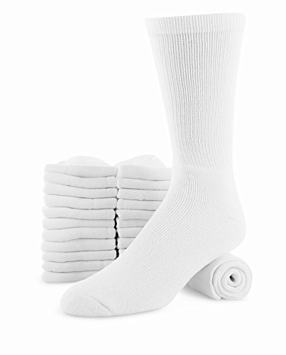 Heavy Duty Footwear (Men's 12 Pack Cotton Heavy Duty Reinforced Crew Socks Shoe Size 8-12 Sock Size 10-13)