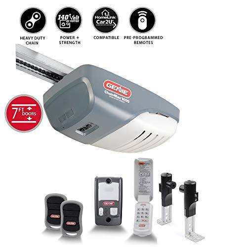 Genie ChainMax 1000 Garage Door Opener - Durable Chain Drive - Includes two 3-Button Pre-Programmed Remotes, Wall Console, Wireless Keypad, Safe-T-Beams - Model 3022-TKH, 140V DC Motor (Low Clearance Garage Doors)