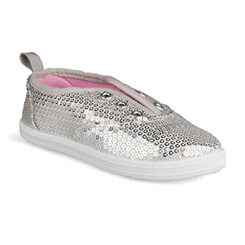 [SBK217-SILVER-Y3] Girls Canvas Sneakers: Lace-Up Tennis Shoes, Youth Size (Baby Spice Shoes)