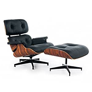 Eames style lounge chair with ottoman in black for Leather eames dining chair