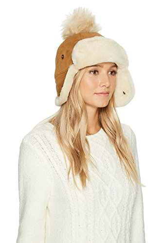 UGG Women's Pom Waterproof Sheepskin Hat Chestnut One Size by UGG