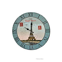 American Chateau 13.25 Large Vintage-Style Paris Eiffel Tower Postage Wood Wall Clock