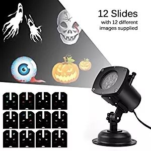 Halloween Warehouse (Halloween Projector Lights, 12 Replaceable Pattern Gobos Garden Lamp Waterproof Sparkling Landscape Projection Indoor/Outdoor Deco for Christmas Party,Holiday, Birthday, Wedding Decorations)