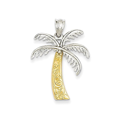 14k Two-tone Gold Palm Tree Pendant (Palm Tree Pendant)