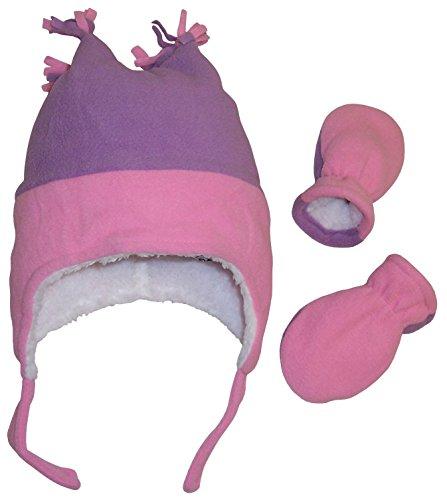 Nice Corners - N'Ice Caps Girls 4 Corner Sherpa Lined Fleece Hat and Mitten Set (6-18 Months, Infant - Pink/Light Purple)