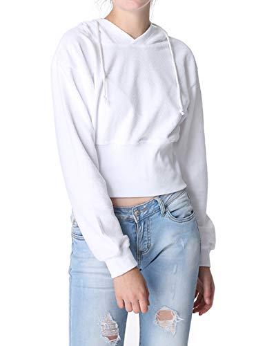 Jeune Printemps Casual Pulls Tops Fashion Capuche Jumpers Court Manches Fashion Blanc Sweats Sweat Shirts Simple Blouses Femmes et Hauts Longues Automne Pullover R0wzBZx