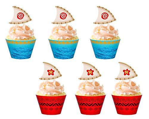 Moana Cupcake Toppers Wrappers Party Supplies - Luau Hawaiia