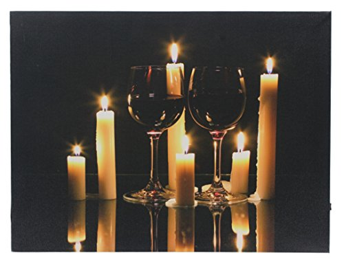 Wine Candles LED Lighted Canvas Wall Art Decor (Wine Art Wall Decor Led Lights compare prices)