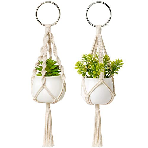 (Dahey Mini Macrame Plant Car Hanging 2 Pcs Hanging Succulent for Car Decorations Handmade Rear View Mirrior Charm Boho Planter with Ceramic Pot and Plant for Car Home Decor,Unique Gifts, 10.5 inch)