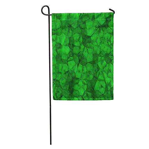 YhouqukehTshirt Garden Flag Green Bright Rough Emerald Crystal Gem Glamour Glass Jewel Jewelry Home Yard House Decor Barnner Outdoor Stand 12x18 Inches Flag