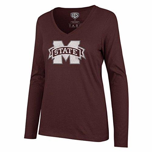 NCAA Mississippi State Bulldogs Women's Ots Rival Long sleeve Distressed Tee, Medium, Dark Maroon (Mississippi University State Alumni)