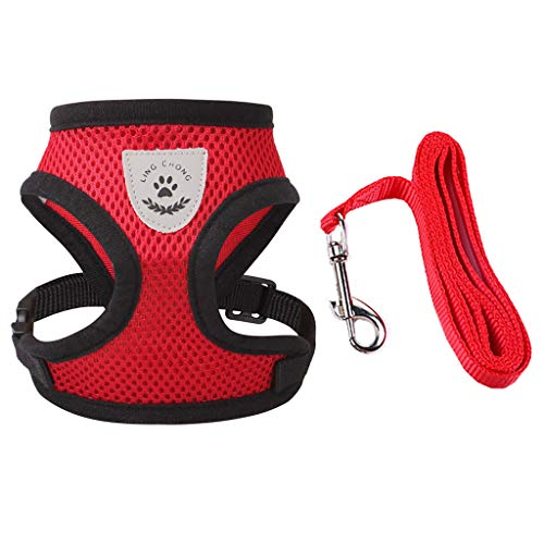 Meeyou Little Pet Adjustable Mesh Harness with Leash(M,Red)