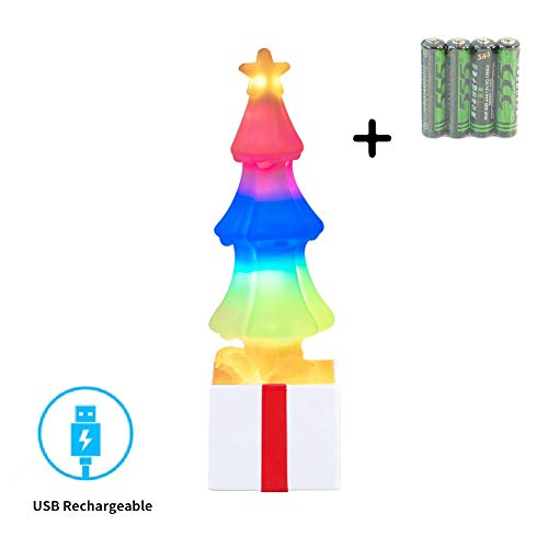 Chamvict LED Night Light-[2019 Newest]Table Lamp USB Rechargeable Decorative Lamp with 2 Mode Color Changing RGB Flow and Soft Rock Light for Christmas,Room,Best Gift for Kids(Christmas Tree Shape)