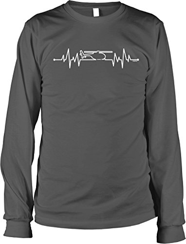NOFO Clothing Co Helicopter Heartbeat Men's Long Sleeve Shirt, L Char ()