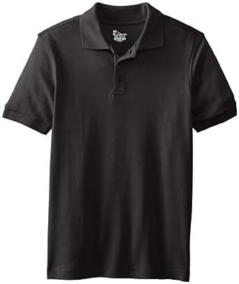 CLASSROOM Big Boys' Youth Unisex Short Sleeve Interlock Polo, Black, Medium