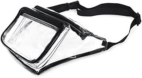 Clear Fanny Pack Stadium Security Approved Waist Bag for Events, Games, and Concerts Transparent