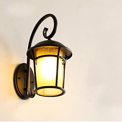 - CYRDJ Outdoor Wall Lamp, Waterproof Vintage Classic Wall Sconce with Seeded Glass Shade Aluminum Fixture for Porch Hallway,Black