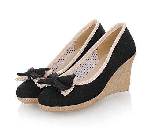 Womens Round Heels Aisun Bows Toe Wedge Black On Slip Sweet Shoes With Dressy Pumps f1BBnxaE