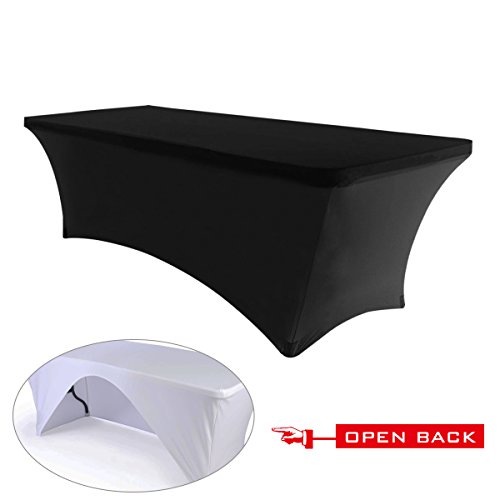 30+colors ABCCANOPY Table cloth 6 ft. Fitted Polyester Tablecloth Stretch Spandex Table cover (Open Back Black) (Back Spandex)