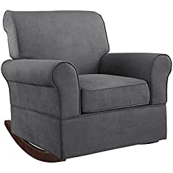 Baby Relax The Mackenzie Microfiber Plush Nursery Rocker Chair, Grey