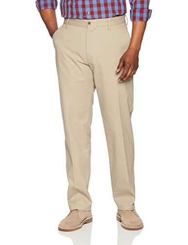 Amazon Essentials Men's Classic-Fit Wrinkle-Resistant Flat-Front Chino Pant, Khaki, 42W x - Leg Detail Trousers Wide