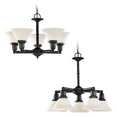 Sea Gull Lighting Five-Light Fluorescent Sussex Chandelier with Satin Etched Glass Shades