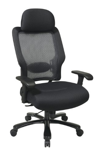 SPACE Seating Big and Tall Dual Layer AirGrid Back and Padded Black Mesh Seat, 2-Way Adjustable Arms, Tilt Tension and Lumbar Support with Gunmetal Finish Base Exucutives Chair with Adjustable -