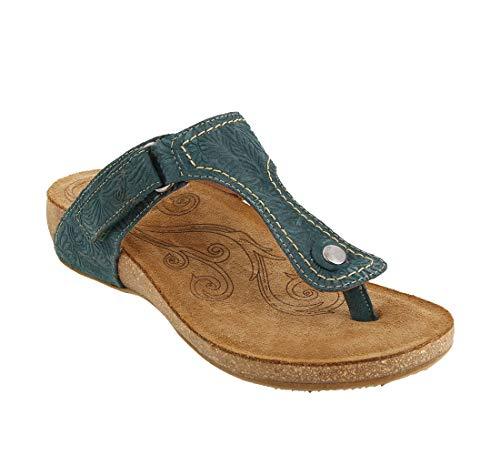 Taos Footwear Women's Lucy Teal Embossed Suede Sandal 6 M US ()