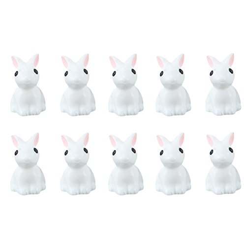 NUMBERNINE,10pcs Mini Rabbit Animal Miniature Fairy Garden Decoration Doll House Terrarium Decor Ornament Toys,rabbit (Peters Grass Ball)