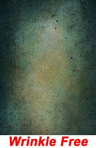 Green Wall Backdrop Wrinkle Free Cloth Rustic Grunge Green Concrete Wall Solid Green Cement Wall Portrait Photo Abstract Texture Printed Fabric Photography Background (P0072, 5' Wide by 7' Tall)