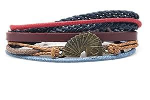 Orti Jewelry Original Fashion Bracelet – Handmade Leather, Metal & Rope Bangle, Stylish Design, Unisex Jewelry, Adorable Romantic Christmas Gift Idea – Playing Crads Rope and Leather Adjustable Unisex Charm Bracelet