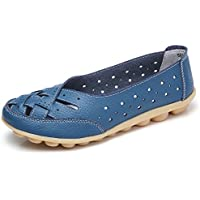 z-joyee Womens Hollow Out Casual de piel conducción plana Loafers Shoes