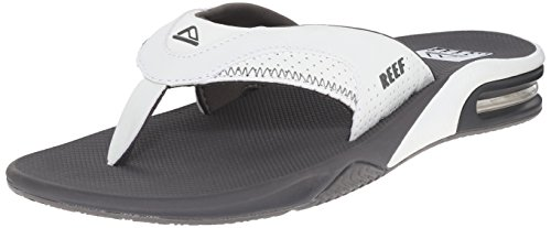 (Reef Men's Fanning Flip Flop, Grey/White, 10 M US)