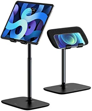 "Tablet Stand Holder,Baseus Angle Height Adjustable Tablet & Phone Stand for Bed/Desk,Compatible with (5.5-21.5"") Screen iPad Pro/Air/Mini, iPhone, Samsung, Switch, Kindle,Surface Pro, Fire HD(Black)"