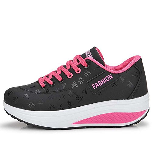 ANDAY Women's Fancy Thick Sole Lace Up Fitness Sports Shoes Trainers Sneakers Black 25lZ6