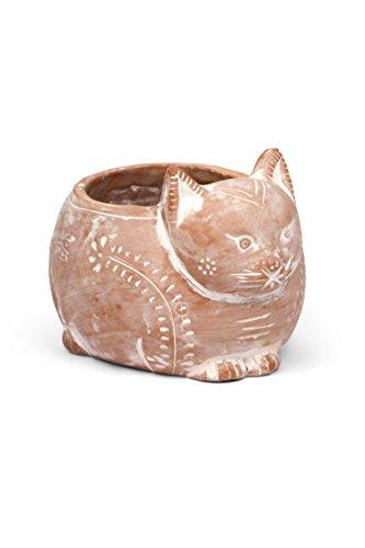 (Ten Thousand Villages Whitewashed Cat Figure Pot 'Crouching Cat)