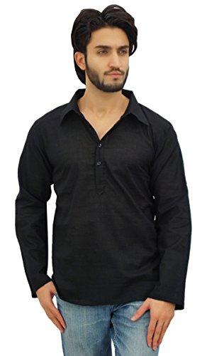Atasi Men's Black Kurta Roll-Over Shirt Collar Neck Ethnic Indian Clothing-Large