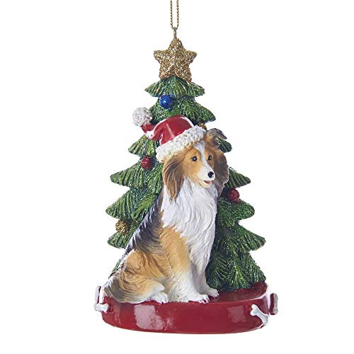 Kurt Adler Shetland Sheepdog With Christmas Tree Ornament