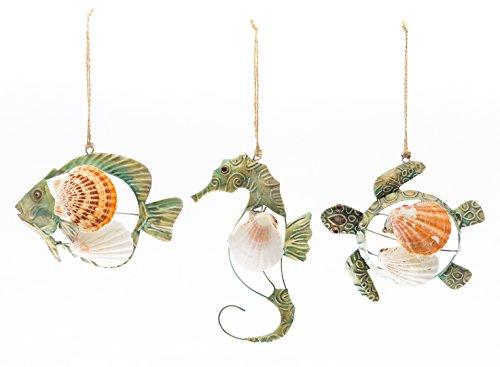 Nautical Ornament Set | 3 Piece Turtle, Fish and Seahorse | Coastal Decor for beach and wedding | Nautical Crush Trading (Horse Christmas Tree Ornaments)