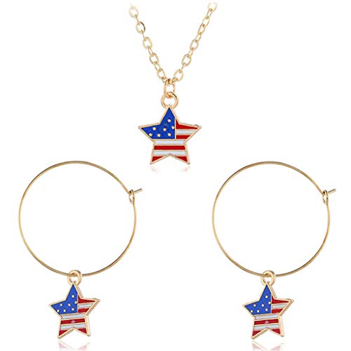 Tanwpn Independence Day Necklace Simple Flag Star Large Metal Earrings for Women Lady Girls Gift Jewelry Set