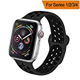 HILIMNY Compatible for Apple Watch Band 38MM 40MM 42MM 44MM, Soft Silicone Sports Replacement Wristband Compatible for iWatch Band Apple Watch Series 4/3 / 2/1, S/M M/L