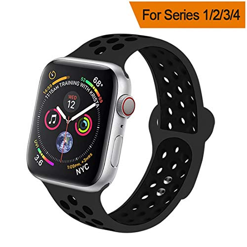 HILIMNY Compatible for Apple Watch Band 42MM/44MM, Soft Silicone Sports Replacement Compatible for iWatch Band Apple Watch Series 4/3 / 2/1, M/L, Anthracite Black