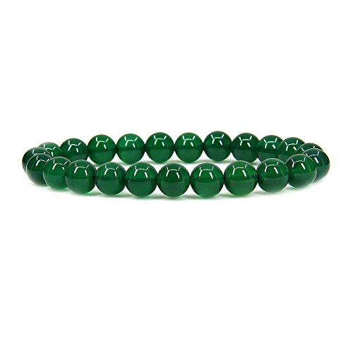 Green Agate Gemstone 8mm Ball Beads Stretch Bracelet 7