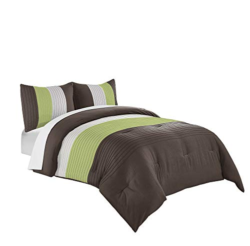 Chezmoi Collection Harper 3-Piece Luxury Striped Comforter Set (Queen, Green/Beige/Brown)