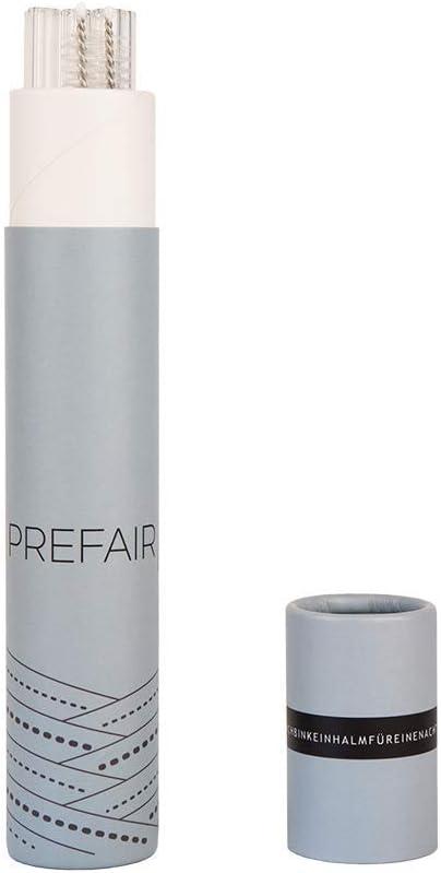 Fabricado en Alemania marr/ón 200x8mm Prefair Pajitas de Vidrio Juego de 4 con Bolsa de Almacenamiento y Cepillo de Limpieza